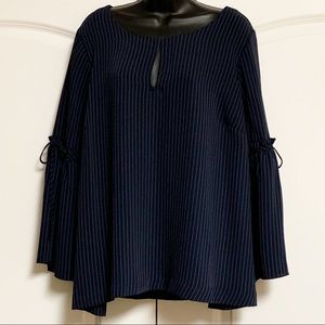 Lane Bryant Navy Pin Stripe Bell Sleeve Top 18 20